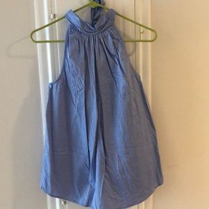 Blue jcrew top with bow back